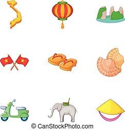 Trip around Vietnam icons set, cartoon style