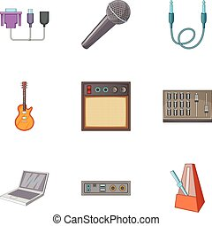 Sound DJ icons set, cartoon style - Sound DJ icons set....