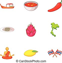 Thailand day icons set, cartoon style - Thailand day icons...