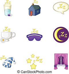 Time to sleep icons set, cartoon style