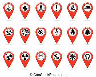 Map pointers. Set of safety symbols. Location and specify the coordinates on the map terrain. Industrial Design. Red object on a white background. Vector.