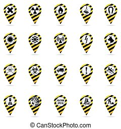 Map pointers. Set of safety symbols. Location and specify the coordinates on the map terrain. Industrial Design. Yellow black striped object on a white background.