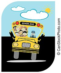 School Bus with Driver Kindergarten Happy Students