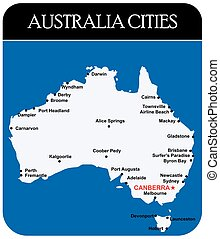 Australia Cities Map with names