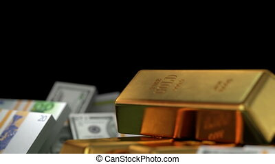 Bitcoins, Money, Gold and Diamonds, beautiful 3d animation...