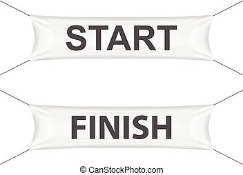 Start finish banner on a white background.