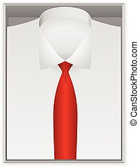Shirt and tie in box on a white background.