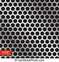 silver metal background with circle holes