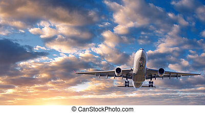 Landscape with white passenger airplane - Beautiful...