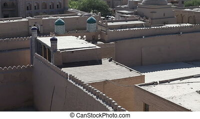 Aerial view on streets of the old city. Uzbekistan. Khiva -...