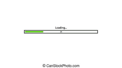 animation - modern green loading bar on white background. Footage with alpha matte.