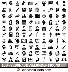 100 personal development icons set, simple style