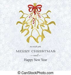 Merry Christmas and Happy New Year background with mistletoe...