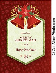 Merry Christmas and Happy New Year background with bells,...