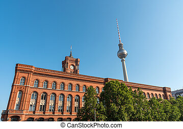 Television Tower and Town-hall in Berlin - Television Tower...