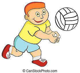 Kid Boy Playing Volleyball