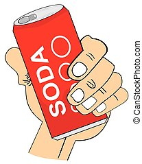 Hand Holding Soda Can