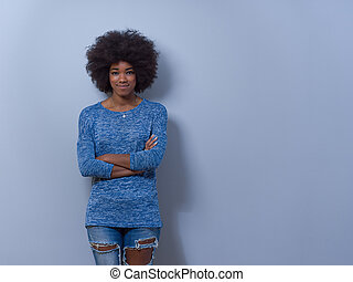 portrait of a beautiful friendly African American woman with...