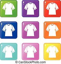 Raglan tshirt icons 9 set - Raglan tshirt icons of 9 color...
