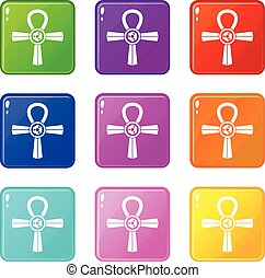 Egypt Ankh symbol icons 9 set - Egypt Ankh symbol icons of 9...