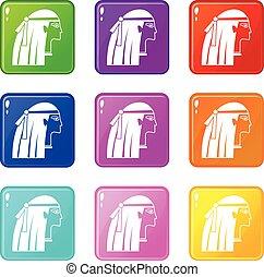 Egyptian girl icons 9 set - Egyptian girl icons of 9 color...