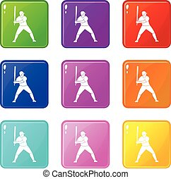 Baseball player with bat icons 9 set