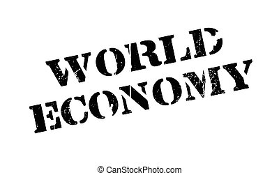 World Economy rubber stamp. Grunge design with dust...