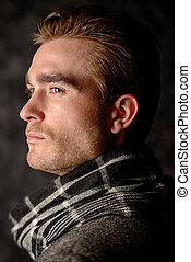 seasonal clothing shot - Male beauty, fashion. Portrait of a...
