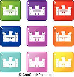 Medieval fortification icons 9 set - Medieval fortification...