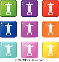 The Christ the Redeemer statue icons 9 set - The Christ the...