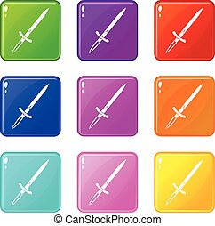 Sword icons 9 set - Sword icons of 9 color set isolated...