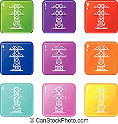 High voltage tower icons 9 set - High voltage tower icons of...