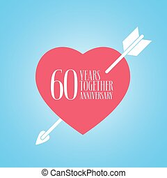 60 years anniversary of wedding or marriage vector icon,...