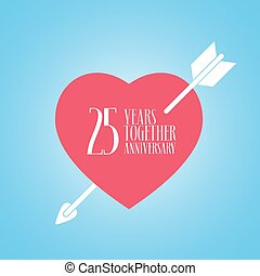 25 years anniversary of wedding or marriage vector icon, illustration