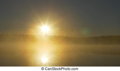 Summer sunset on forest lake. View on Lake with bright Sun over distant cape and evening glow reflecting in calm water at midnight sun. Fog on the river in the moonlit night