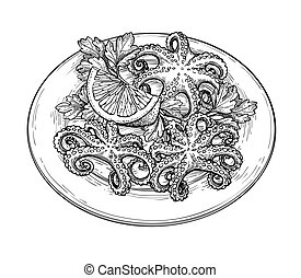 Octopus ink sketch. - Octopus with lemon on a plate. Seafood...