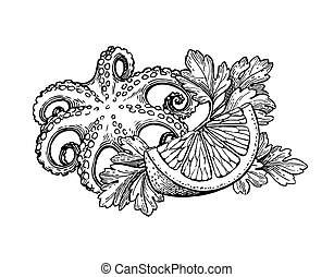 Octopus ink sketch. - Octopus with lemon and parsley....