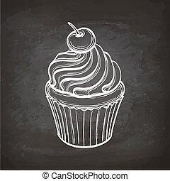Cupcake sketch on chalkboard. - Cupcakes with cream and...