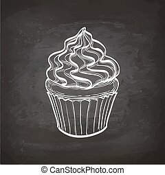Cupcake sketch on chalkboard. - Cupcakes with cream. Retro...