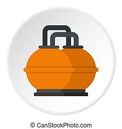 Orange fuel storage tank icon circle