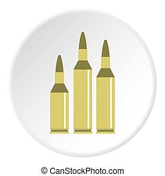 Bullet ammunition icon circle - Bullet ammunition icon in...