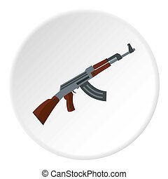 Submachine gun icon circle - Submachine gun icon in flat...