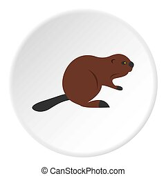 North American beaver icon circle - North American beaver...