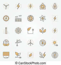 Colorful green energy icons