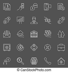 Financial and loan icons - vector collection of outline...