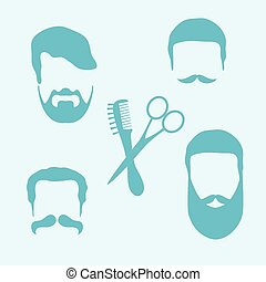 Cute vector illustration of men hairstyles, beards and mustaches, hairdresser tools care. Barbershop symbol.