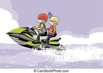 Man driving jet ski in the water. Fun conceptual vector...