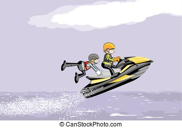 Man driving jet ski on a water. Fun conceptual vector...