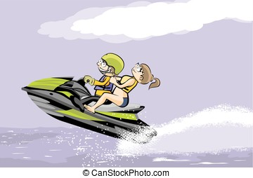 A man and a girl riding a water scooter