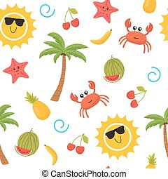 Colorful summer seamless pattern with sun, crab, starfish, palm, pineapple, banana and watermelon. Cute background